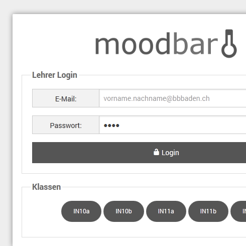 moodbar - login screen